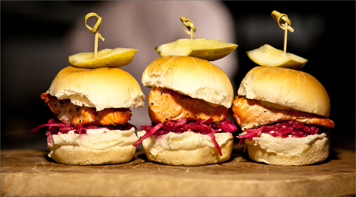 an image of salmon burgers from the Blue Canoe