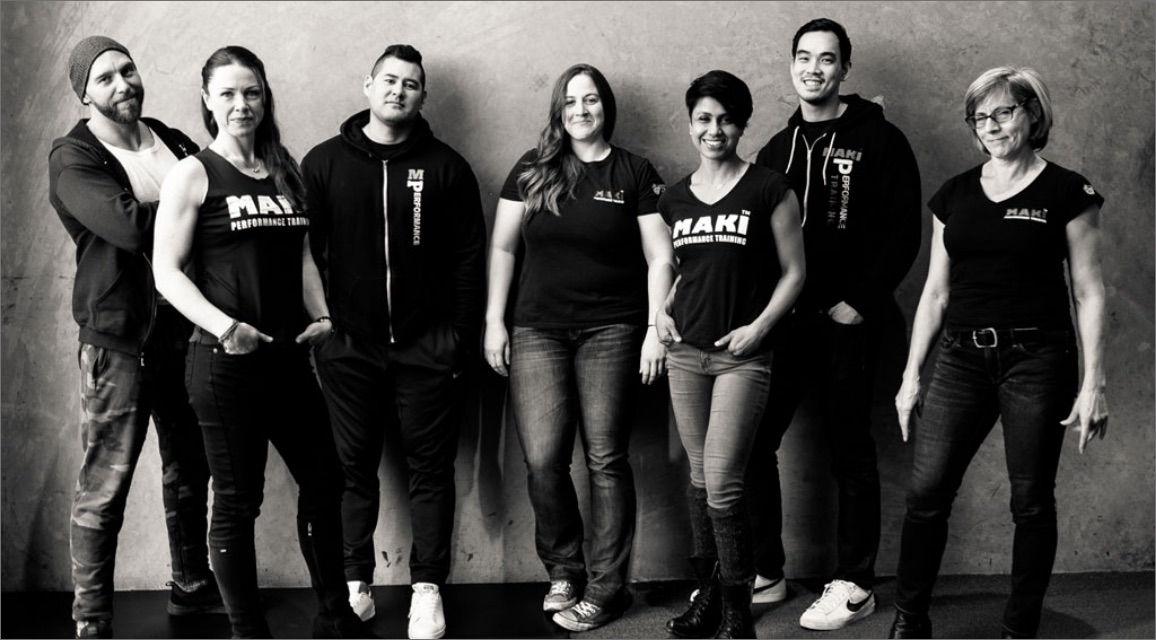 A group shot of the trainers at Maki Performance Training