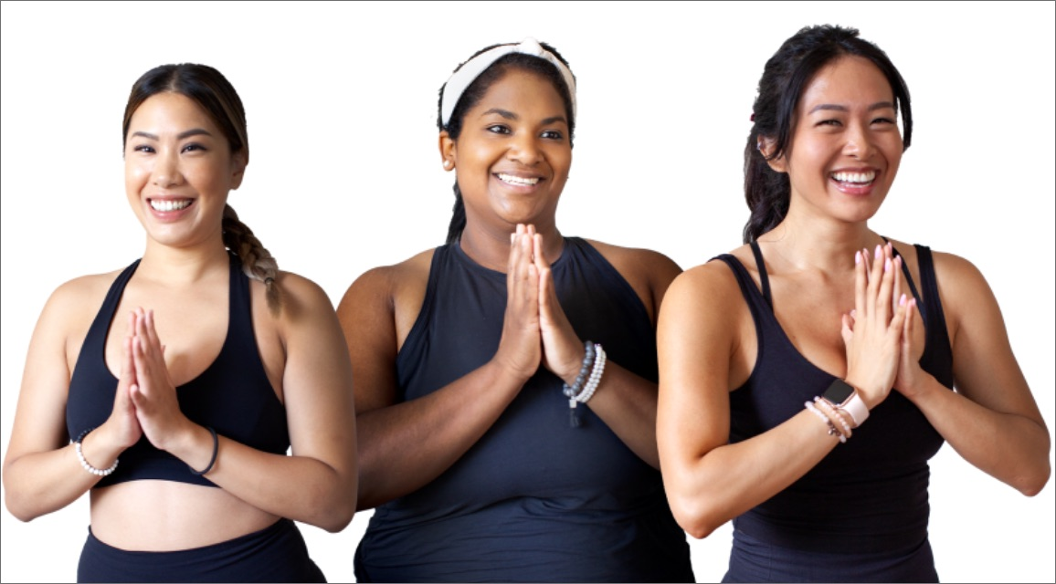 three member of Yyoga clasp their hands together in a Namaste gesture
